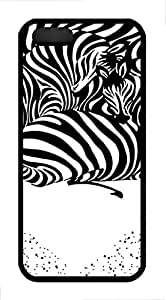 Brian114 iPhone 5S Case - Cute Animals Zebra 9 Back Case Cover for iPhone 5 5S Soft Rubber Black Cases