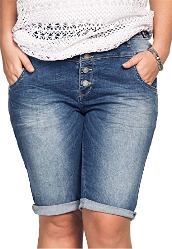 Ellos Women's Plus Size 5-Button Denim Shorts Light (Button Fly Denim Shorts)