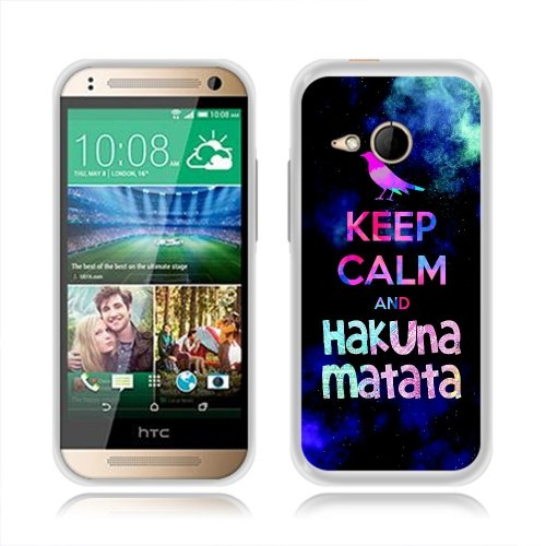 HTC One M8 Mini One Remix 2 Case, Fincibo (TM) TPU Silicone Protector Cover Soft Gel Skin, Keep Calm and Hakuna Matata (Style 1)