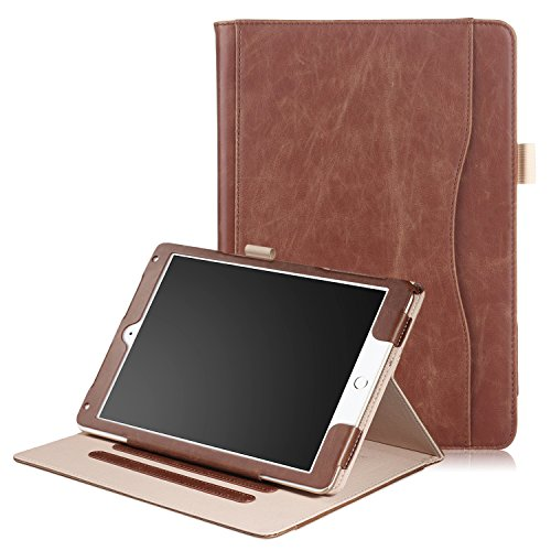 New iPad Pro 10.5 Inch 2017 Release PU Leather Case- Anvas [Large Pocket] Folio Stand Shell [Stylus Holder] Multi-Stand Cover , Auto Wake / Sleep for Apple iPad 10.5 Inch 2017 Model,02 Coffee