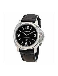 Panerai Men's Luminor 44mm Black Leather Band Steel Case Sapphire Crystal Mechanical Analog Watch PAM01000