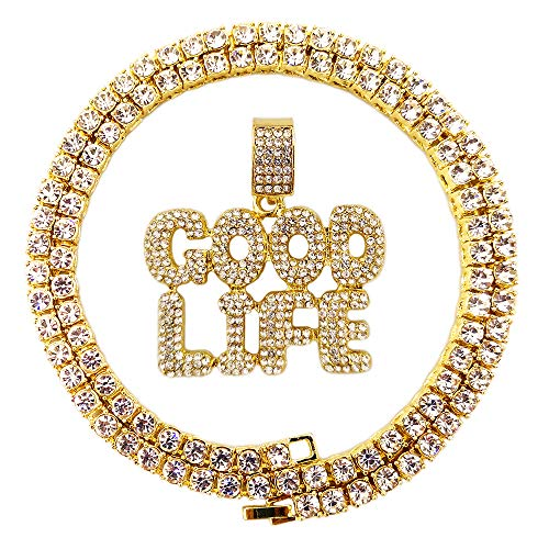 Single Row Chain - HH Bling Empire Hip Hop Iced Out Gold Faux Diamond Bubble Dripping Full Name Letters Tennis Chain 20 Inch (Goodlife)