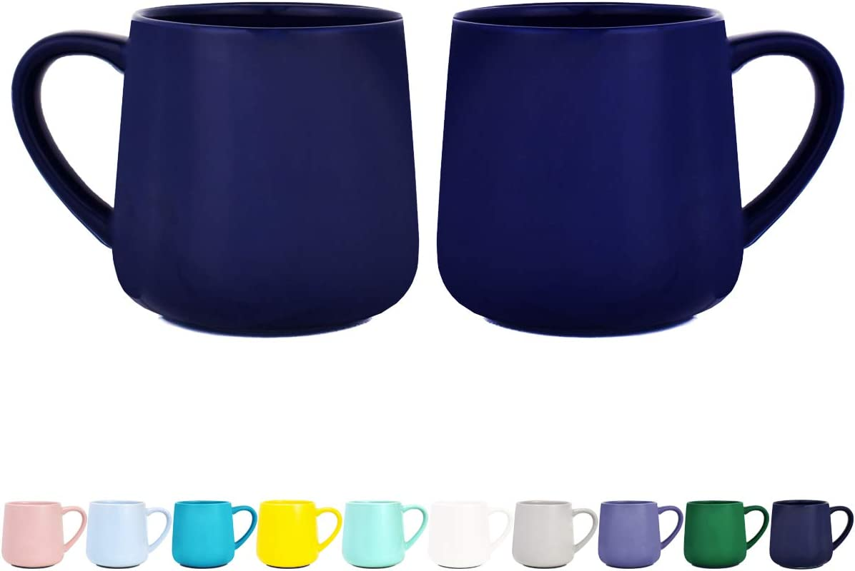 Bosmarlin Glossy Ceramic Coffee Mugs Set of 2, Tea Cup for Office and Home, 18 oz, Suitable for Dishwasher and Microwave(Royal Blue, 2)
