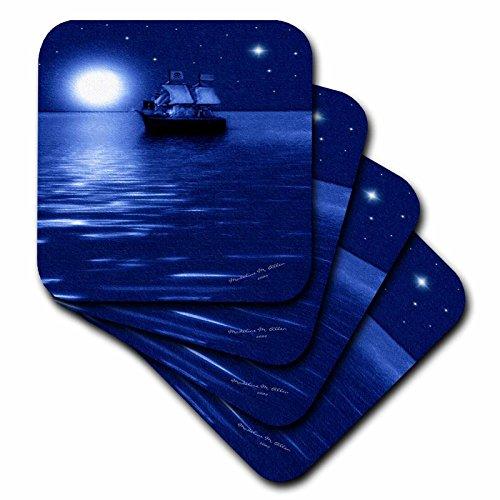 - 3dRose CST_6670_2 Pirate Ship-SmudgeArt Ship Art-Soft Coasters, Set of 8