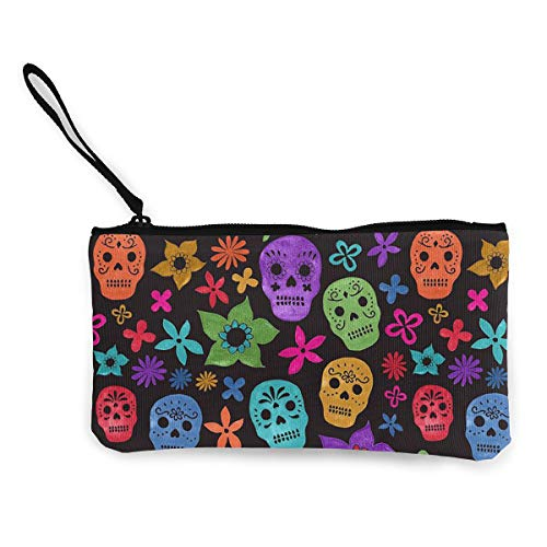 Coin Pouch Halloween Wallpaper Skull Canvas Coin Purse Cellphone Card Bag With Handle And -