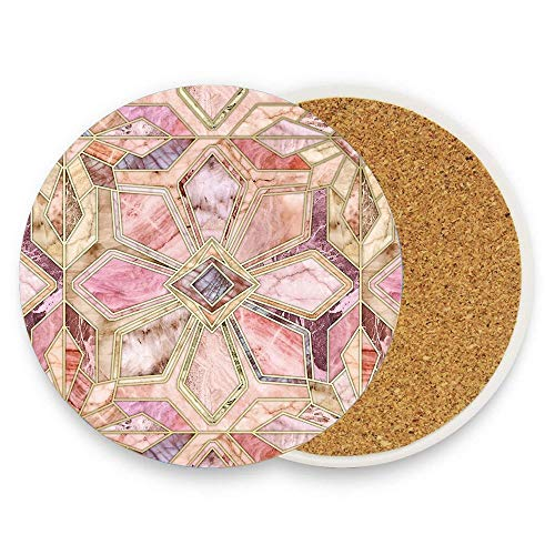 Geometric Gilded Stone Tiles In Blush Pink Peach And Coral Ceramic Coaster Protective Cork Base Coaster for Drinks Coffee Mug Glass Cup Mat 1 Piece