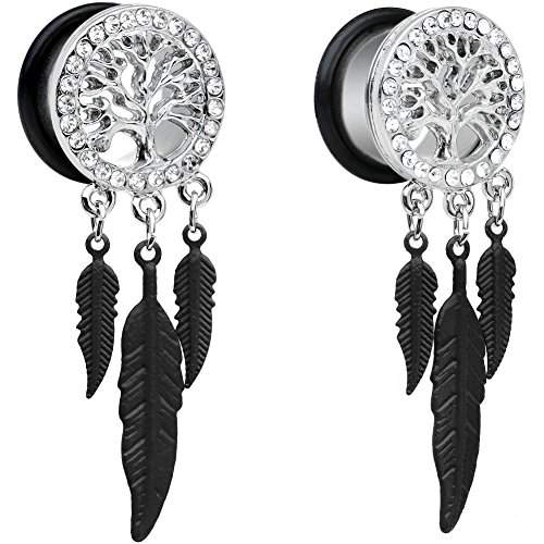 Body Candy Steel Single Flare Clear Accent Tree of Life Feather Dangle Ear Gauge Plug Set ()
