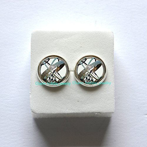 Astronomical Sundial Globe Earrings Astronomy Earrings Aqua Astrological Astronomy Science Jewelry, Not an Actual Sundial
