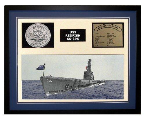 Navy Emporium USS Redfish SS 395 Framed Navy Ship Display Blue (Redfish Framed)
