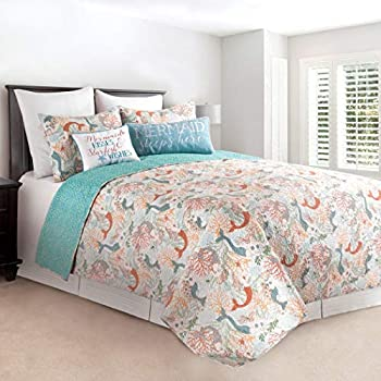Image of AD 3 Piece Blue White Coastal Full Queen Quilt Set, Nautical Beach House Theme Bedding, Corals Lake Sea Life Shells Ocean Mermaid Pattern Reversible Orange Mermaids Beachy Fairy Tale, Cotton