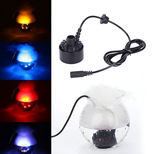 Docooler 15W Ultrasonic Mist Maker Fogger Light Water Fountain Pond Fog Machine Atomizer Air Humidifier Lamp 12 LEDs Color Change