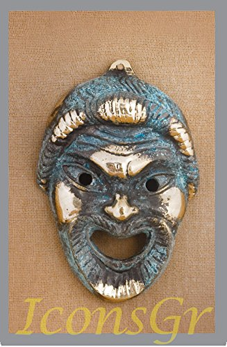 Estatua del antiguo Museo de Bronce Griego réplica de la máscara teatral de Tragedy (460