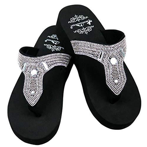 Wedge Flop Flip Beaded - Montana West Women's Hand Beaded Flip Flop Sandals (7B(M), CoffeePaisleyBling)