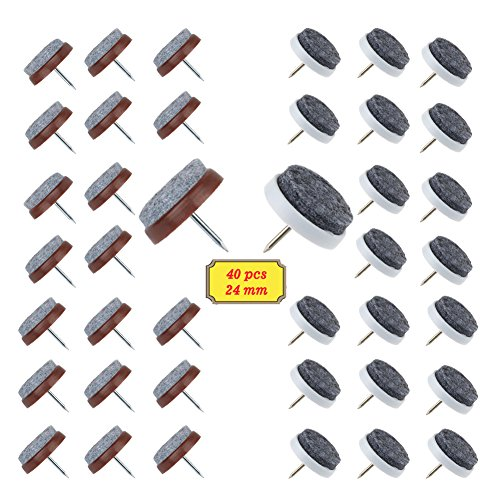 BAKTOONS Heavy Duty Felt Chair Pads, 40PCS Furniture Chair Leg Glides Pads, Magic Sliders Felt Pads Nails to Protect Hardwood Floors, Closets, Cabinets and Wall (Wall Hardwood)