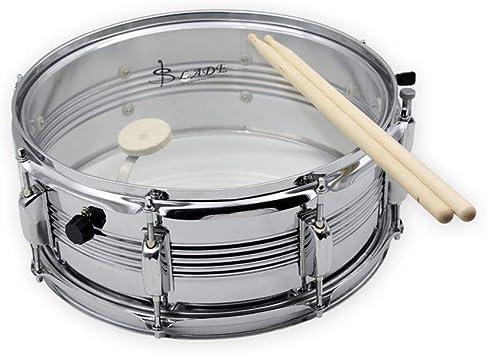 Snare Drum Tambor de Caja Cuero Blanco Cuero Azul Doble Color Banda Opcional Equipo Batería Caja Batería Percusión,White: Amazon.es: Deportes y aire libre