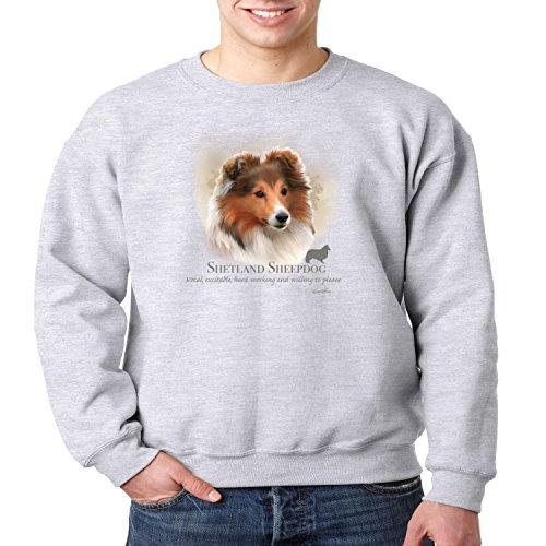 Shetland Sheepdog Crewneck Sweatshirt Dog Owner S-3XL (Heather Gray, L)