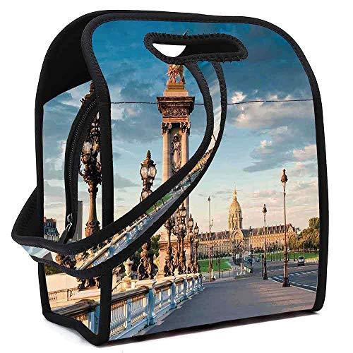 Paris Decor Neoprene Lunch Bag,Pont Alexandre III Bridge 1896 Spanning the River Seine Ornate Art Nouveau Lamps for Students Women Office worker,Square(8.5''L x 5.5''W x 11''H) ()