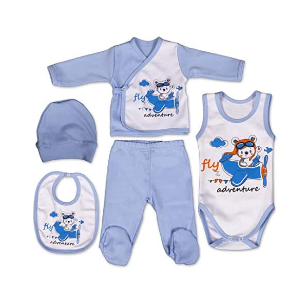 QAR7.3 Completo Vestiti Neonato 3-6 mesi - Set Regalo, Corredino da 5 pezzi: Body, Pigiama, Bavaglino e Cuffietta (Blu… 1