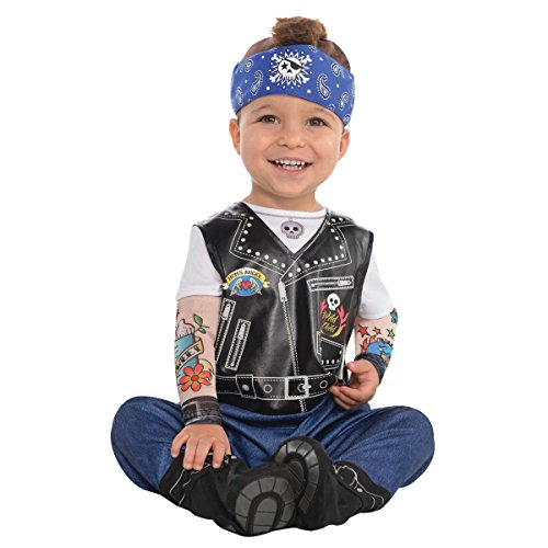 Amscan 845927 Baby Biker Costume - 6-12 Months, Multicolor -