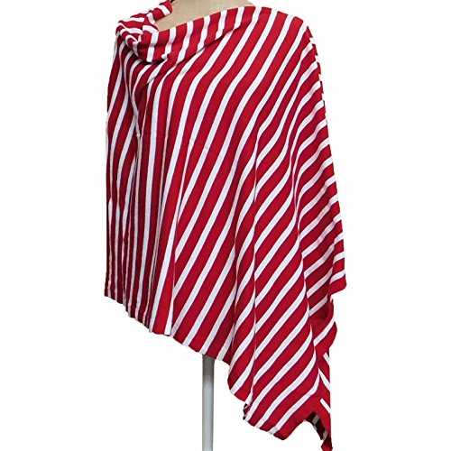 (Tickled Pink Women's Game Day Sports Team Apparel Scarf or Wrap, Narrow Stripe Poncho/26x67, 26 x 67)