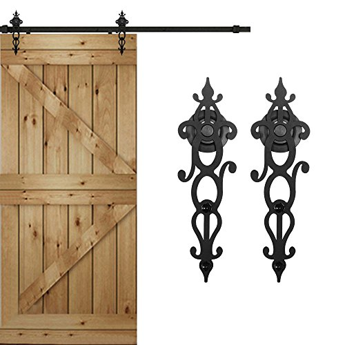 WINSOON New Style Single Rustic Barn Wood Interior Sliding Door Hardware Kit Retro Roller Track Cabinet Closet Kit (7.5FT) - Antique Doors Wood