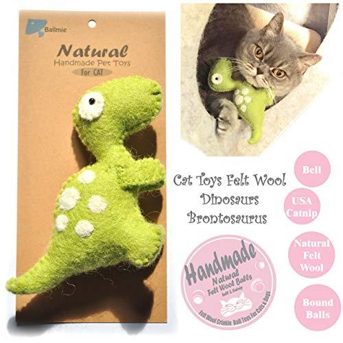 BALLMIE Cat Toys Dinosaur Cat Toys with Bell Felt Wool Catnip Toys (Brontosaurus Green)
