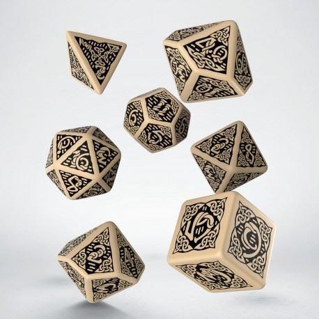 Q-Workshop Polyhedral 7-Die Set: Celtic 3D BEIGE & Black Dice Set! by Q-Workshop Games