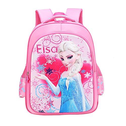 YOURNELO Girl's Cute Fashion Disney 3D Frozen Anna & Elsa Princess Backpack School Bag Bookbag Rucksack (Elsa Pink)