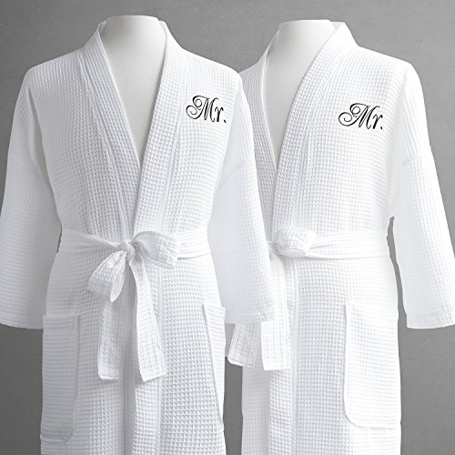 Same-Sex Couple's Waffle Weave Bathrobe Set-100% Egyptian Cotton-Unisex/One Size Fits Most-Spa Robe, Luxurious, Soft, Plush, Elegant Script Embroidery-Luxor Linens-Mr./Mr. with Gift Packaging by Luxor Linens