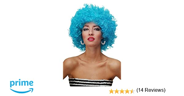 WIG ME UP ® - Peluca afro azul claro Funk Disco años 70 años 80 Foxy Brown PW0011-PC40: Amazon.es: Juguetes y juegos