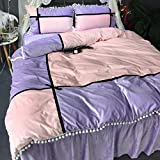 Winter Plush Bedding Sets Checked - MeMoreCool Pompon Polyester Home Textiles Princess Style Duvet Cover and Bed Skirt Queen Purple and Pink