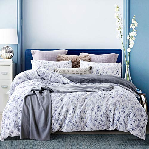 ATsense Duvet Cover Queen, 100% Cotton, Blue Floral, 3-Piece, Ultra Soft and Easy Care, Simple Fashion Style Bedding Set (Q001SZ)