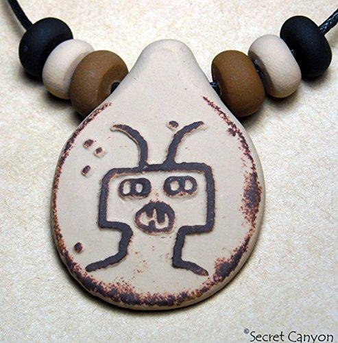 Ancient Aliens Native American Handmade UFO Petroglyph Pendant Necklace+Beads