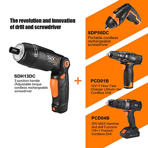 Tacklife SDH13DC Cordless Screwdriver 3.6-Volt 2000mAh MAX Torque 4N.m - 3-Position Rechargeable - 31 Screwdriver Bits in Case, 4 LED Light, Flashlight, USB Charging for Around House Small Jobs by TACKLIFE (Image #6)