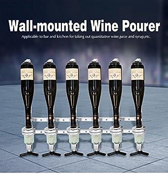 6 botella pared óptica dispensador de bebida, Copa Soporte De Botella de vino vertedor espíritu para casa bar pub: Amazon.es: Hogar