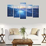Hotel wall decoration Sea Water Underwater World Nature personalized canvas print home bedroom decoration canvas oil painting mural design 5 Piece Canvas painting (No Frame)