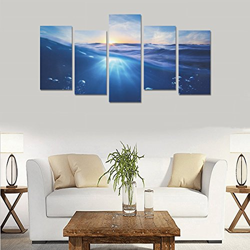 Hotel wall decoration Sea Water Underwater World Nature personalized canvas print home bedroom decoration canvas oil painting mural design 5 Piece Canvas painting (No Frame) by sentufuzhuang Canvas Printing