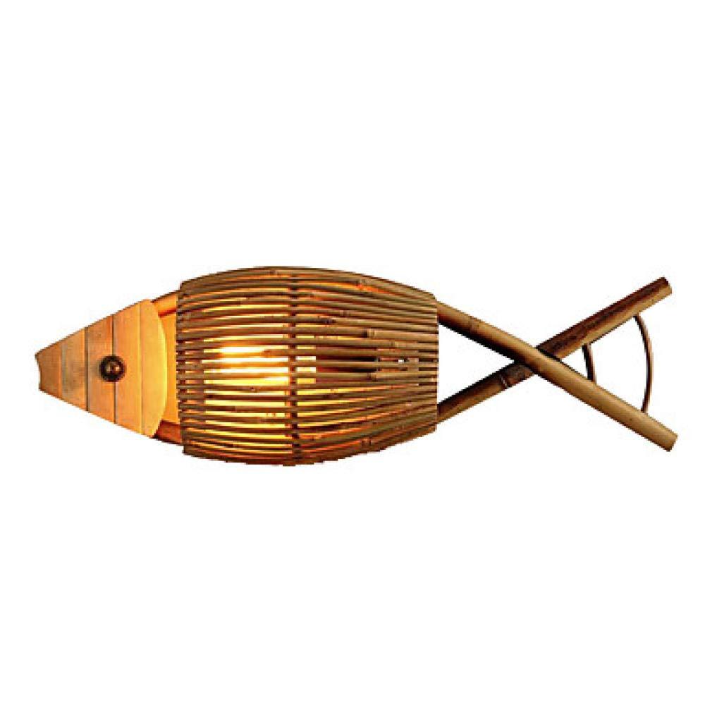 Gelb YAOUDWL Mini Style Vintage Wohnzimmer Schlafzimmer Holz Bambus Wandleuchte 110-120V   220-240V 40 W   E27220-240V_1_Gelb