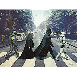 Bucket Abbey Rogue Star Wars Parody Darth Vader Boba Fett Emperor Palpatine Stormtrooper 9 Inches by 12 Inches Reproduction Gallery Wrapped Canvas Wall Art