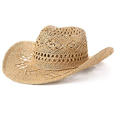 Fancet Mens Straw Mexican Cowboy Western Costume Country Summer Hat for Women Cowgirl 55-60cm