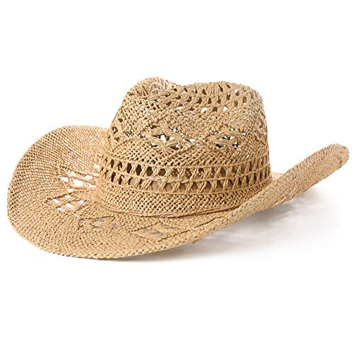 Cowgirl Hats for Girls Western Mexican Straw Woven Cowboy Hat Country Khaki Tan 59cm