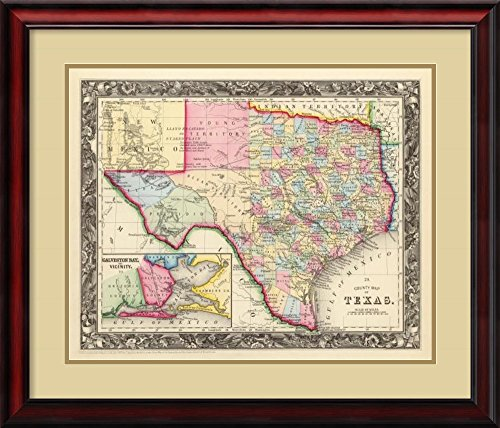 Framed Art Print, 'County Map of Texas, 1860' by Samuel Augustus Mitchell: Outer Size 30 x 26