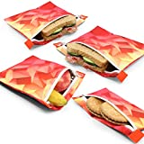 NEW Premium Red & Yellow Sandwich & Snack Bags | Extra Foil Layer For Better Hygiene | Designer Set of 4 Pack | Resealable, Reusable and Eco Friendly Dishwasher Safe Lunch Bags | zero waste bags