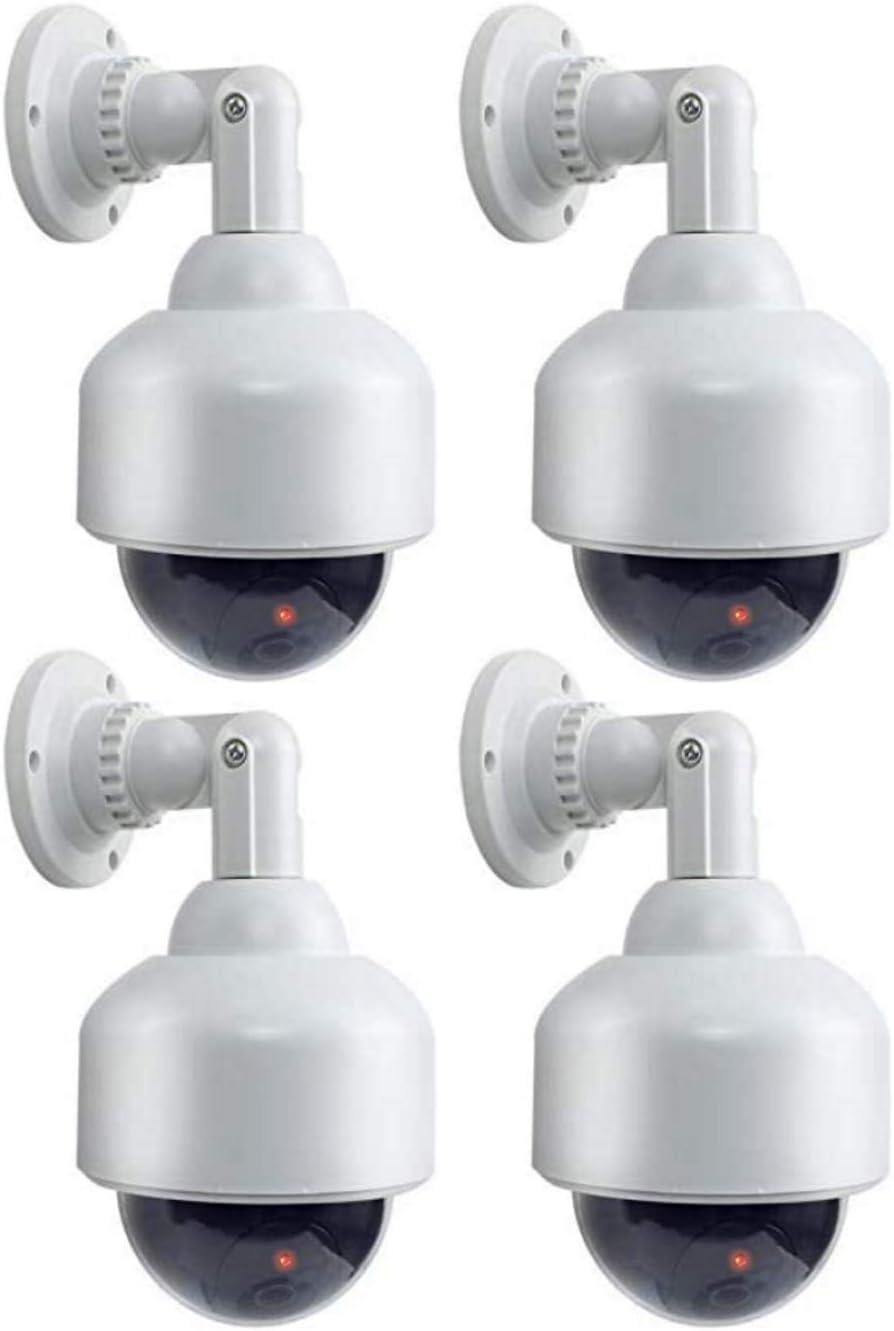 4 cámaras de vigilancia Dummy Dome con Cable de Objetivo con luz Intermitente, Impermeable, para Interior y Exterior