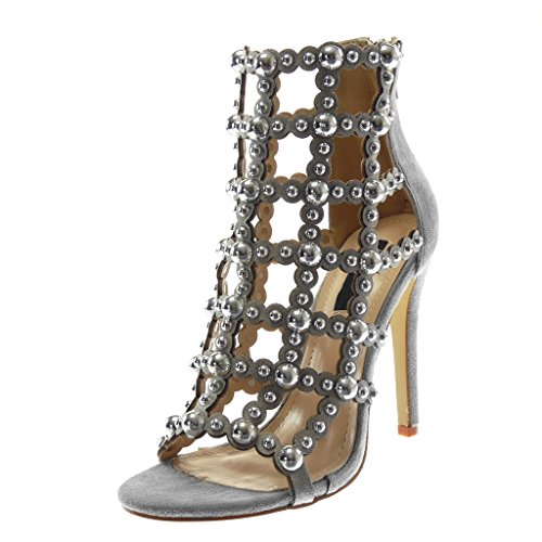 Angkorly Women's Fashion Shoes Ankle Boots - Booty Sandals - Stiletto - Open - Gladiator - Pearl - Studded Stiletto high Heel 11 cm Grey 2xSazOHlU