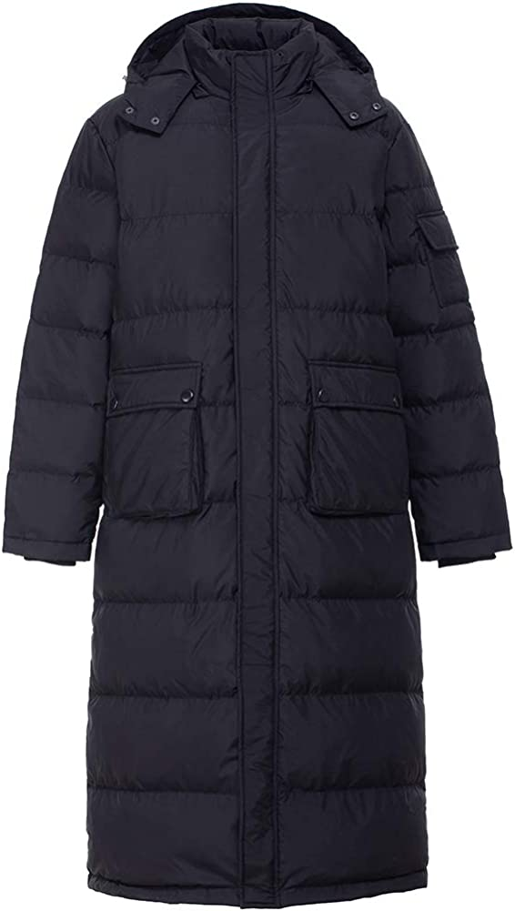PANLTCY Mens Packaged Down Puffer Jacket with Hooded Compressible Long Coat