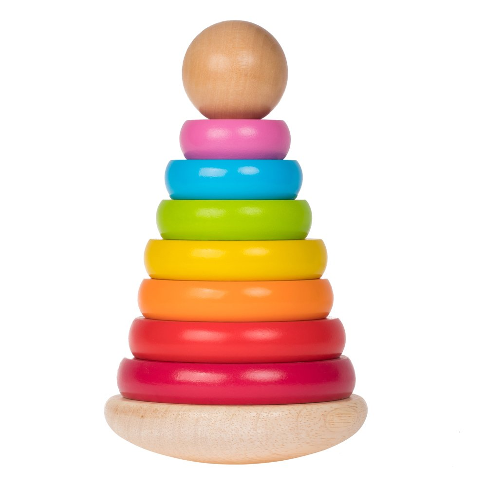 rolimate 8 inch 8 Colors Wooden Ring Stacker Toy for Babies - Rainbow Tower - Wooden Toys Rainbow Stacking for Baby and Toddlers (20x12.5cm)