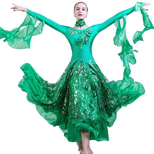 Ballo Di Danza Swings Green Vestito Moderna Grandi Concorso Del Delle Da Paillettes Prestazione Wqwlf xl Abiti Sala Donne Xl BxZwnW