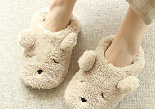 Auspicious beginning Mesdames chaude Mesdames molletonnée de molleton de peluche chaude sur des chaussons confortables dintérieur / extérieurs de pantoufles