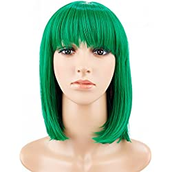 "BeliHair 14"" Green Short Straight Bob Wigs with Bangs for Women Girls Synthetic Costume Hair Wig for Cosplay party(Like Hero Polaris in The Gifted)+Free Wig Cap"